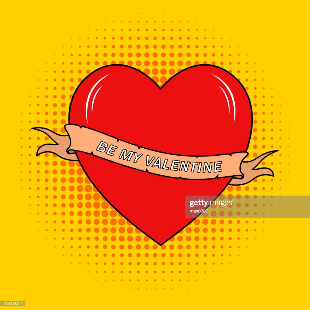 Vector Be my valentine text on ribbon with heart in cartoon style. Design for Valentines Day.