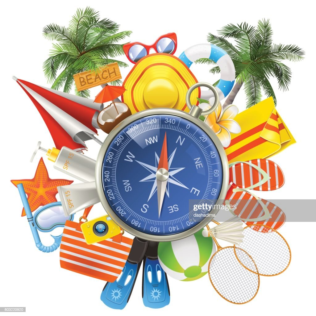 Vector Beach Accessories with Compass