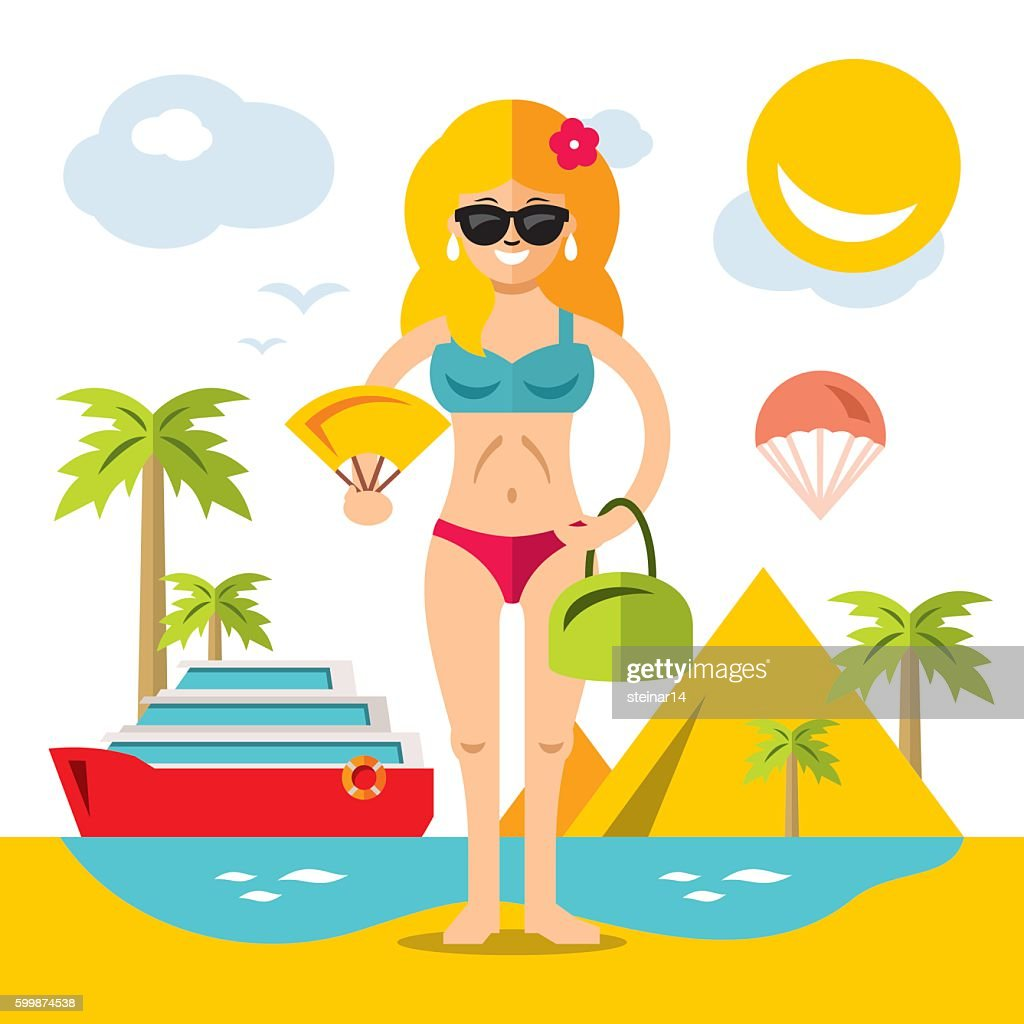 Vector Beach Girl. Flat style colorful Cartoon illustration.