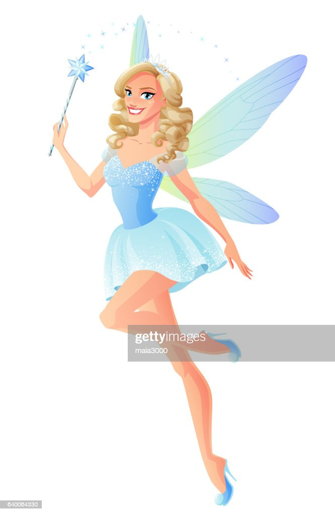 Vector beautiful blue fairy with magic wand and dragonfly wings.