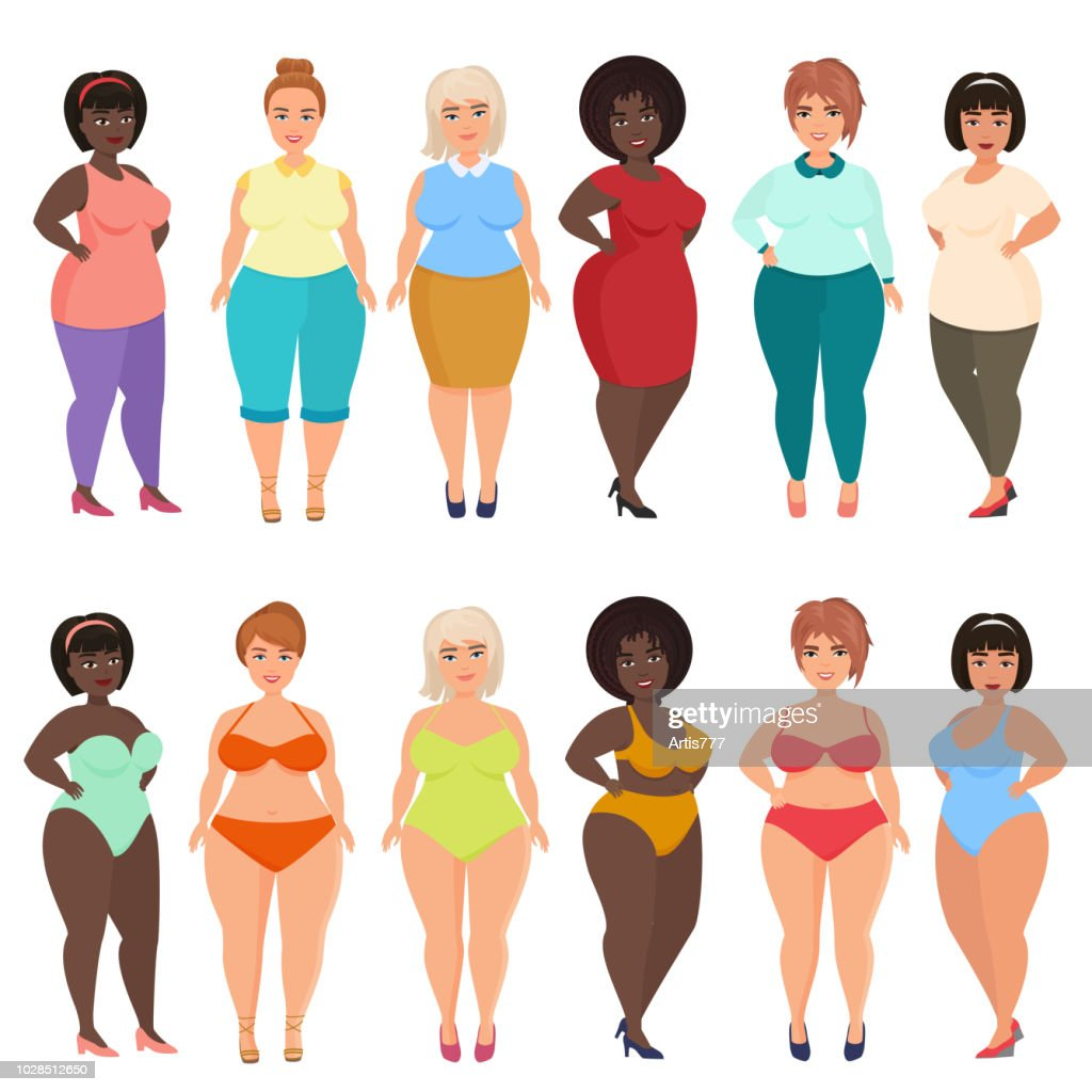 Vector beautiful cartoon happy and smiling plus size woman in casual, bikini, fashionable and evening dress. Curvy, overweight females set.