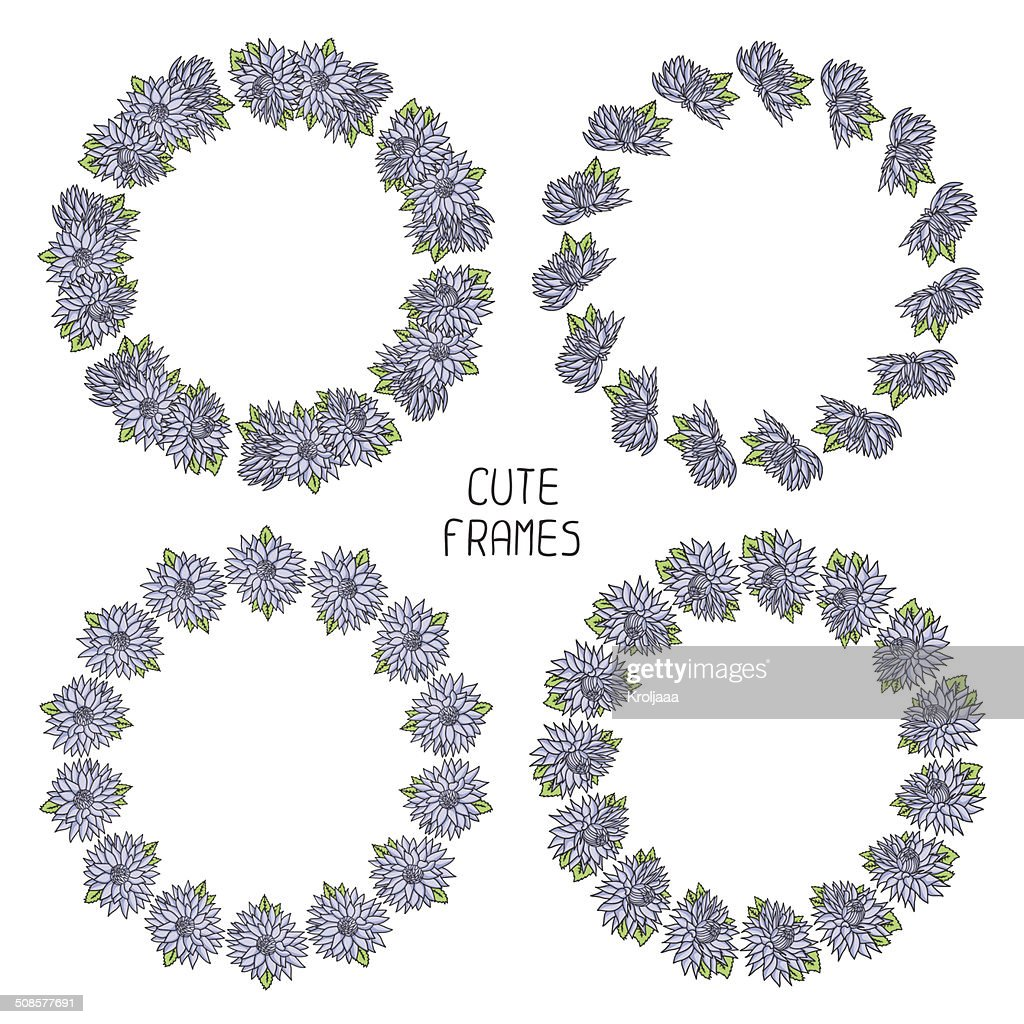 Vector beautiful floral frame. Illustration. Background. : Vector Art