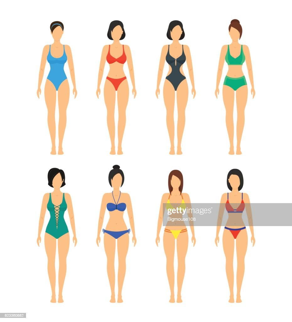 Vector Beautiful girls in Color Bathing Suits Set.