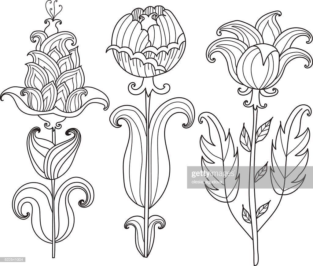Vector Beautiful Monochrome Contour Flower, Floral Design Element.Coloring page