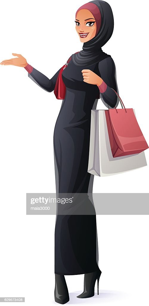 Vector beautiful Muslim woman in hijab standing with shopping bags.