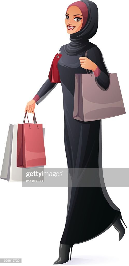 Vector beautiful Muslim woman in hijab walking with shopping bags.