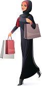 Vector beautiful Muslim woman in hijab walking with shopping bags.
