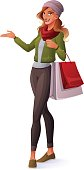 Vector beautiful redhead woman standing with shopping bags and presenting.