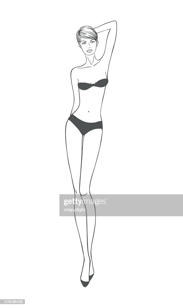 Vector beautiful young woman. Body template for fashion clothing design