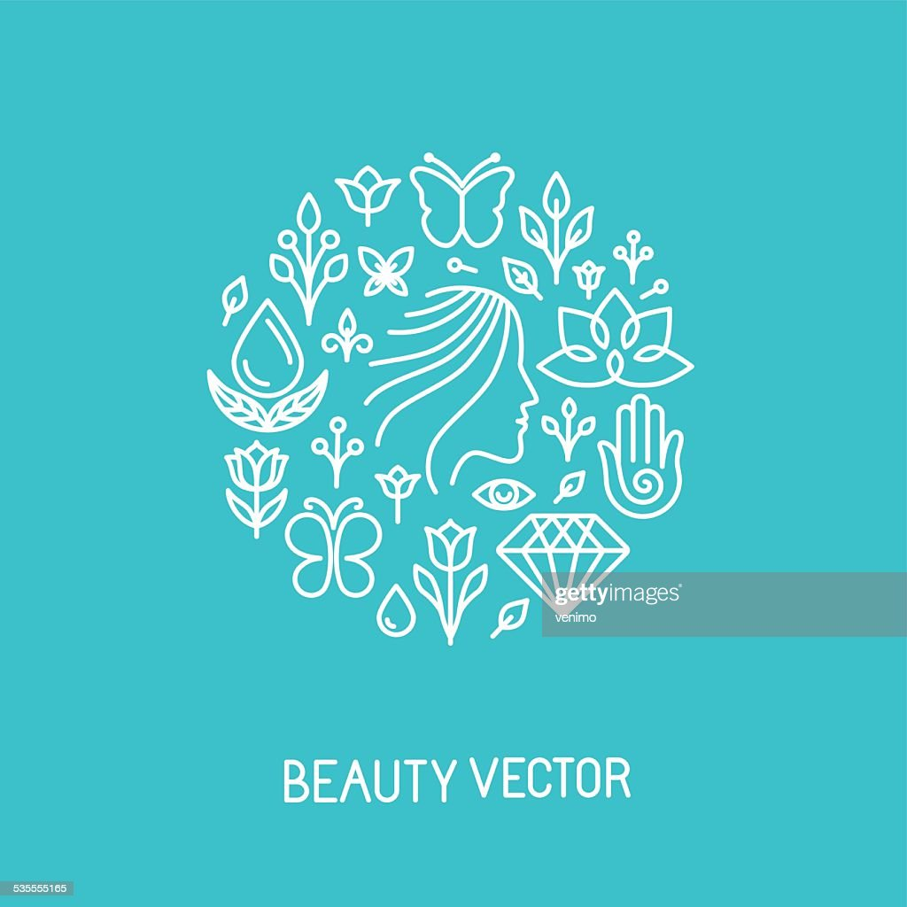 Vector beauty and spa line logo and sign