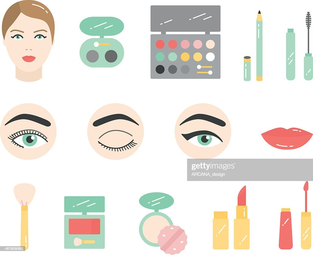 Vector Beauty Make Up Cosmetics flat icon set