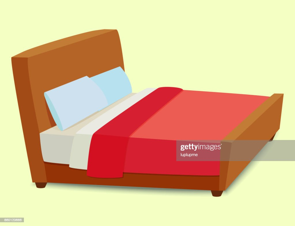 Vector bed icon interior home rest sleep furniture comfortable night illustration