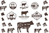Vector Beef Labels, Icons, Charts and Design Elements