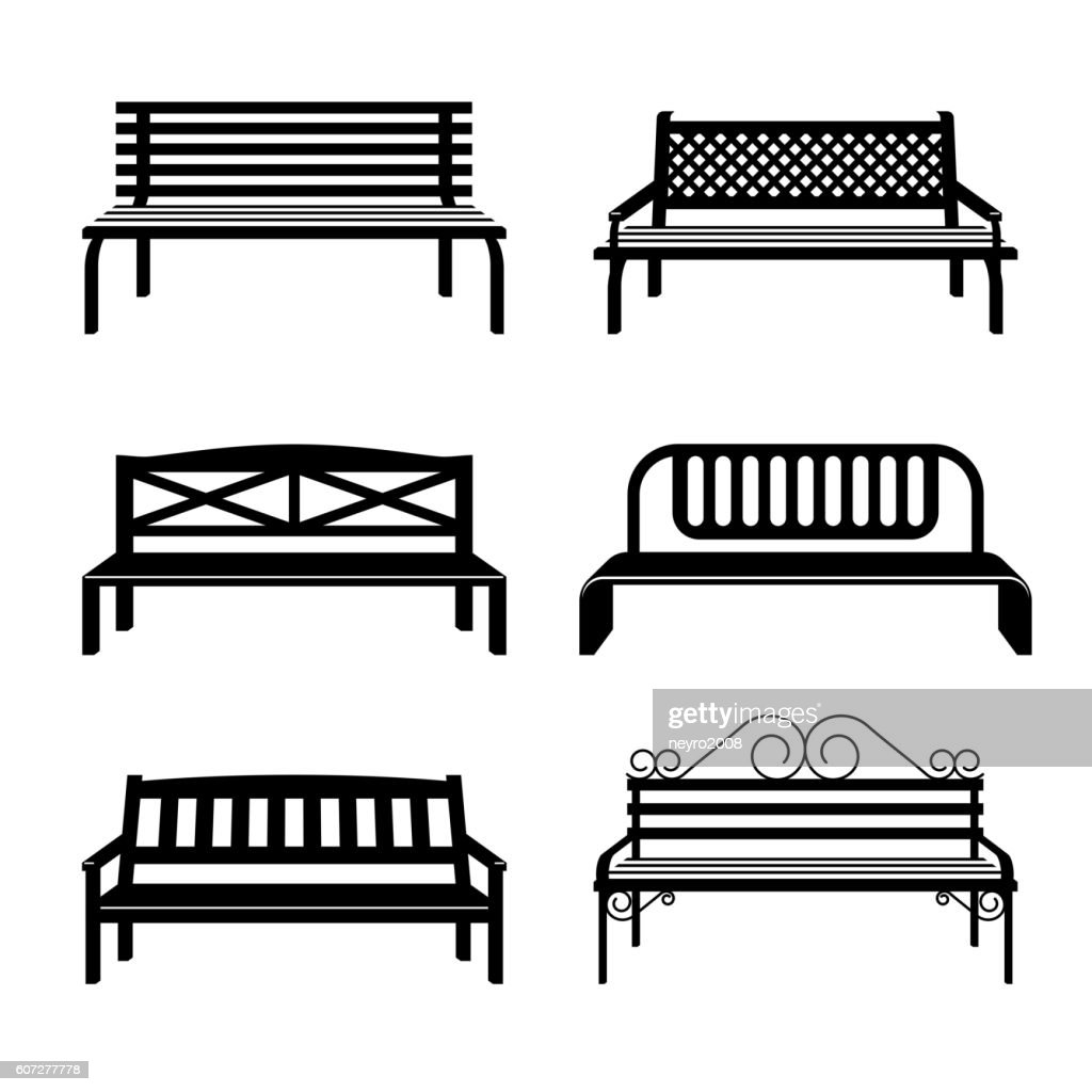 Vector benches. Bench black silhouettes