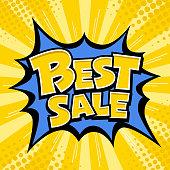 Vector Best sale banner yellow message blue star