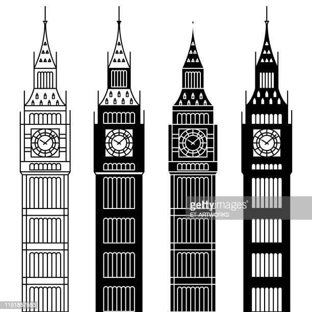 vector big ben tower - tower stock illustrations