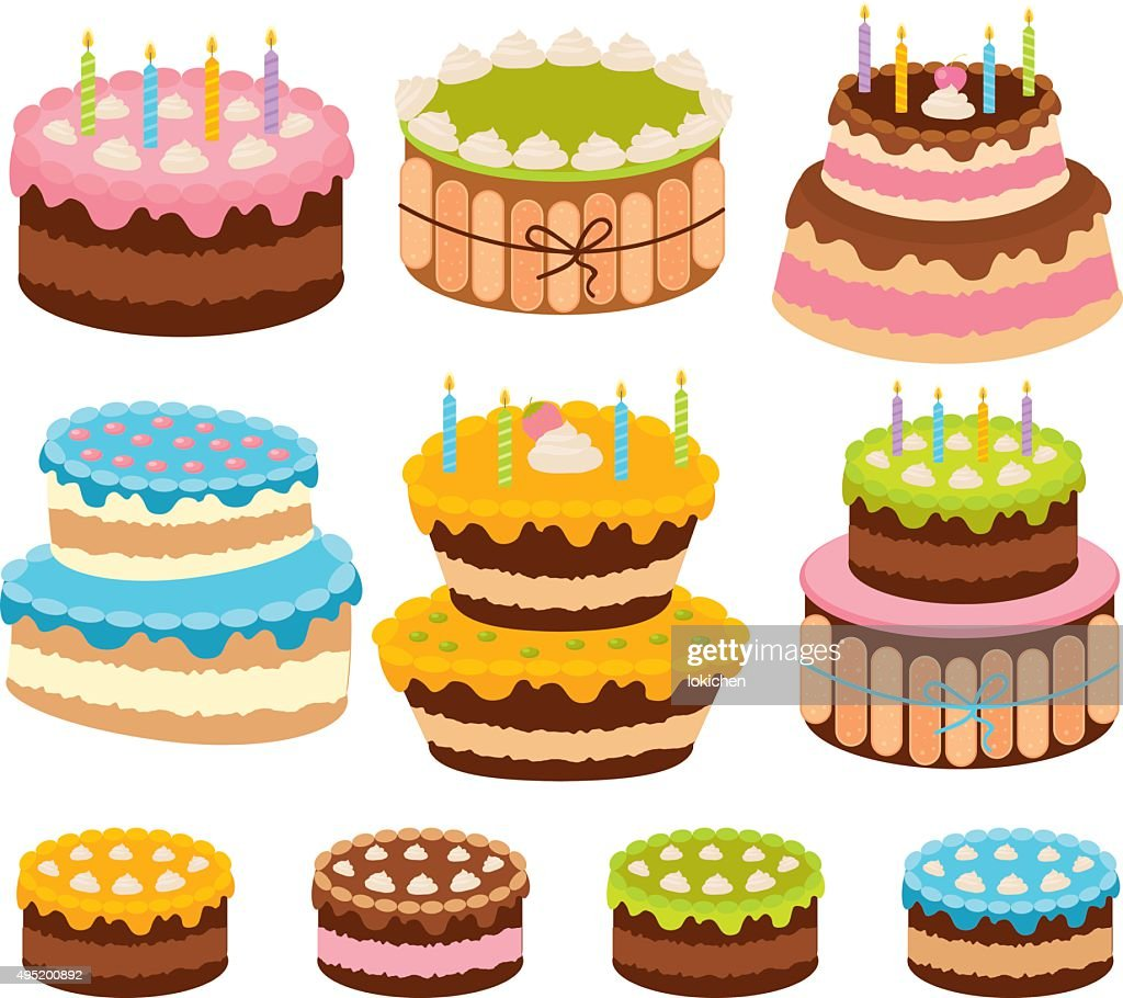 Vector Big Birthday Cake With Burning Candles Art