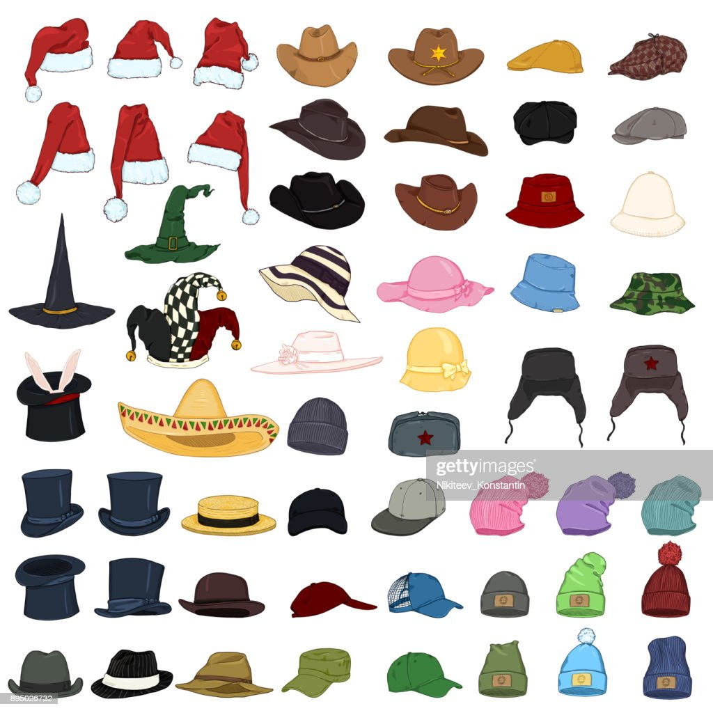 Vector Big Set of Cartoon Hats and Caps. 57 Headwear Items.