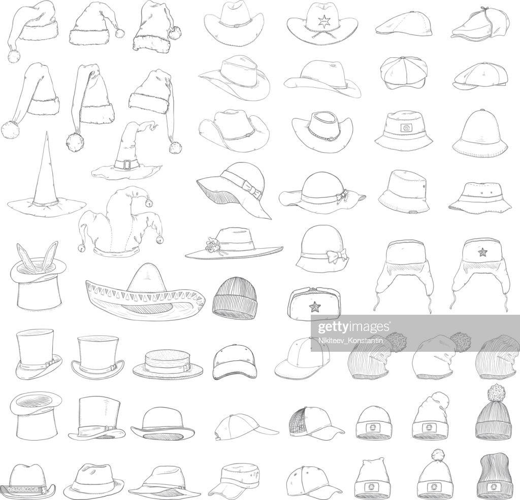Vector Big Set of Sketch Hats and Caps