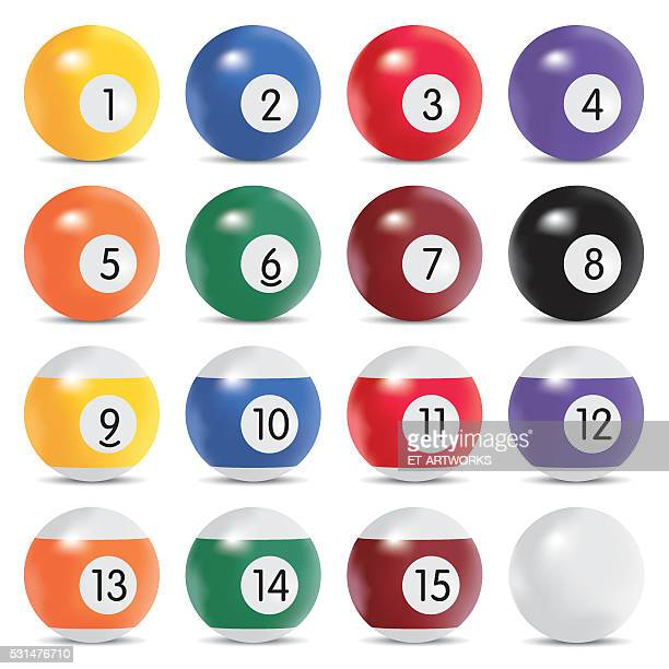 vector billiard balls - pool ball stock illustrations, clip art, cartoons, & icons