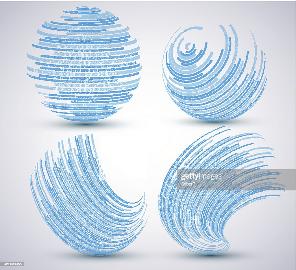 Vector binary sphere set on blue background.