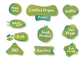 Vector bio and vegetarian design shapes, icons, tags, labels. Organic food element set for meal and drink,cafe, restaurants and organic products packaging