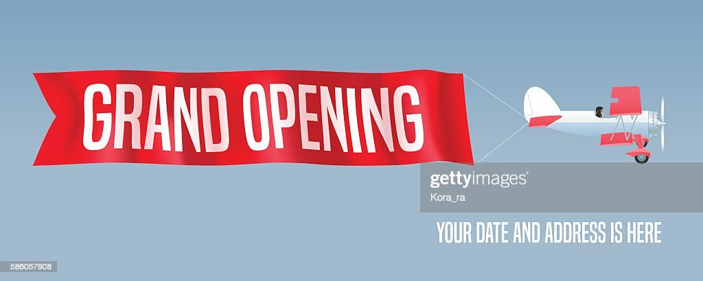 Vector biplane with wavy advertising banner for grand opening illustration