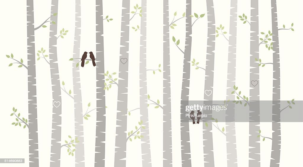 Vector Birch or Aspen Trees with Autumn Leaves