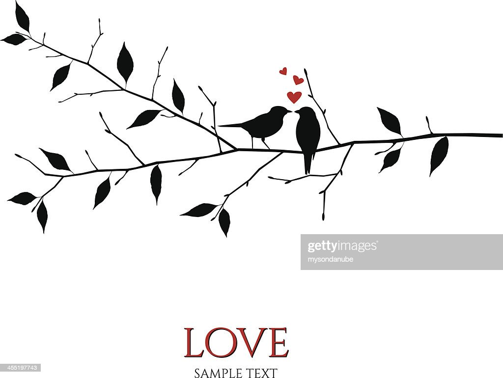 vector birds on branch - love and romance concept : stock illustration
