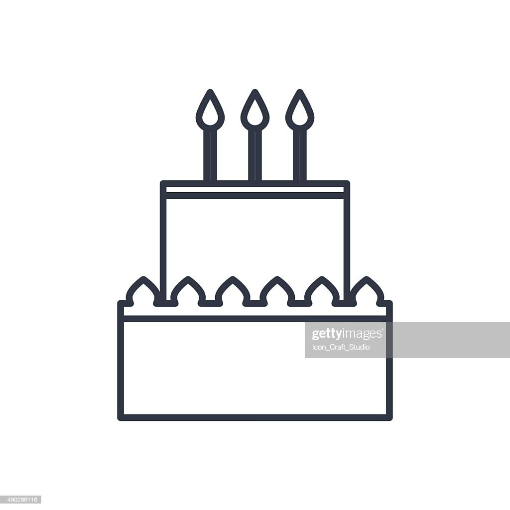 Awesome Vector Birthday Cake Outline Icon Food Symbol Stockillustraties Birthday Cards Printable Trancafe Filternl