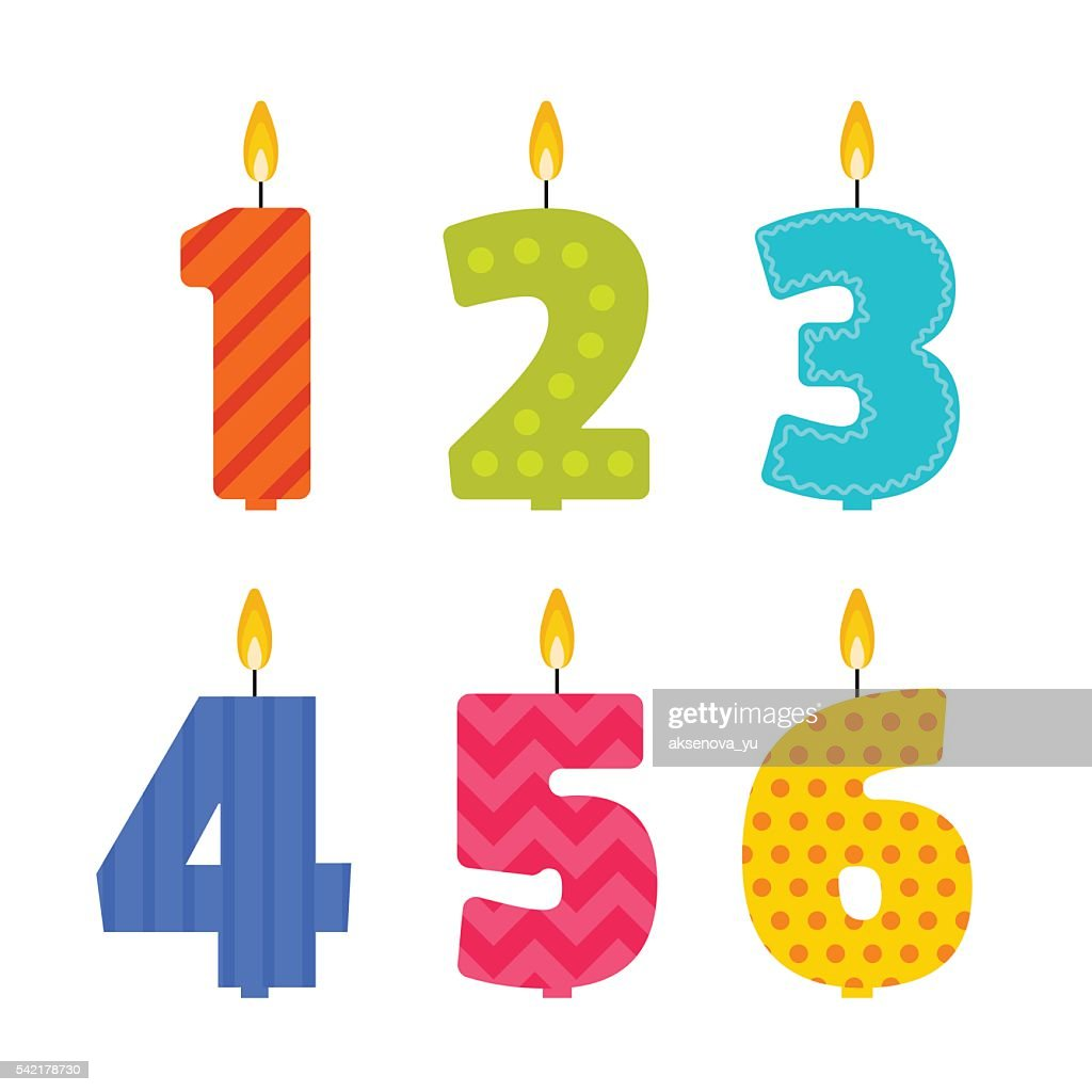 Vector birthday candle set in the shape of numbers