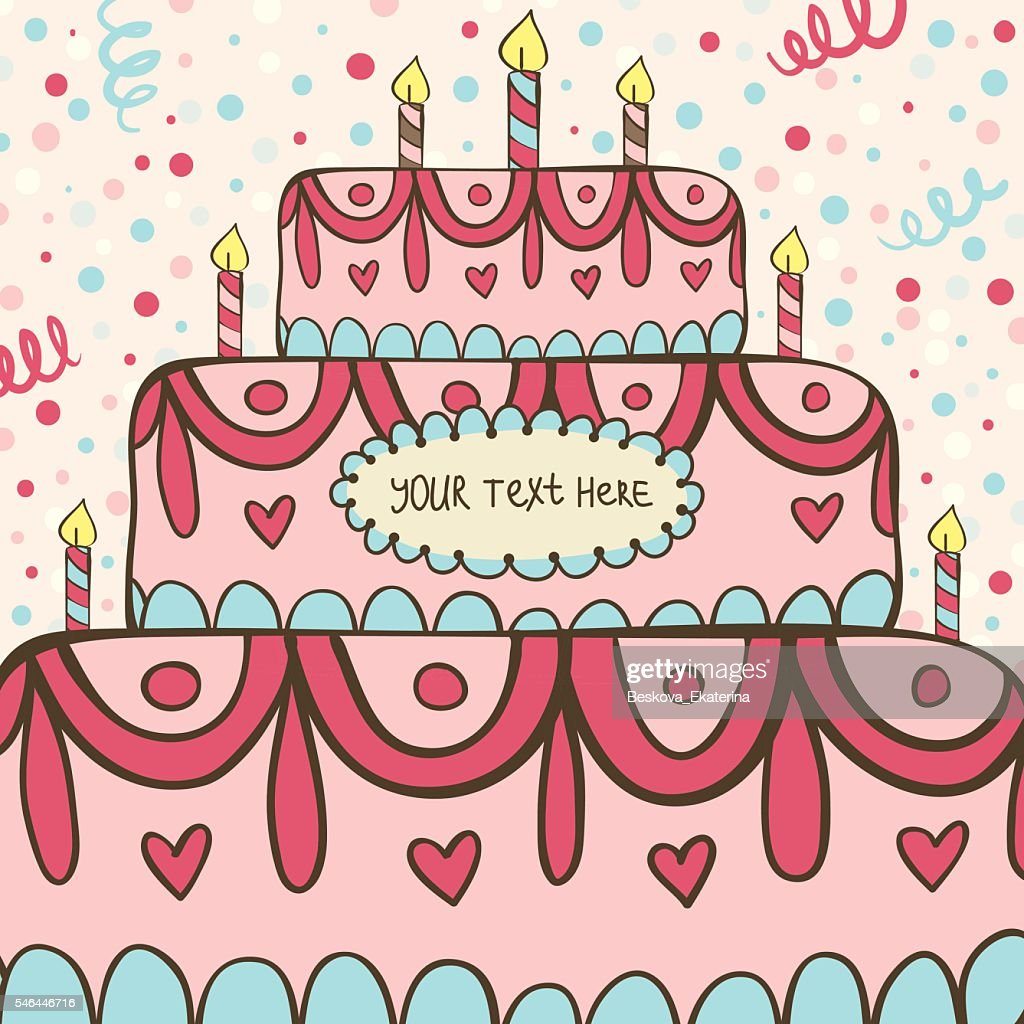 Vector Birthday Card With Cake And Candles Clipart Vectoriel Getty