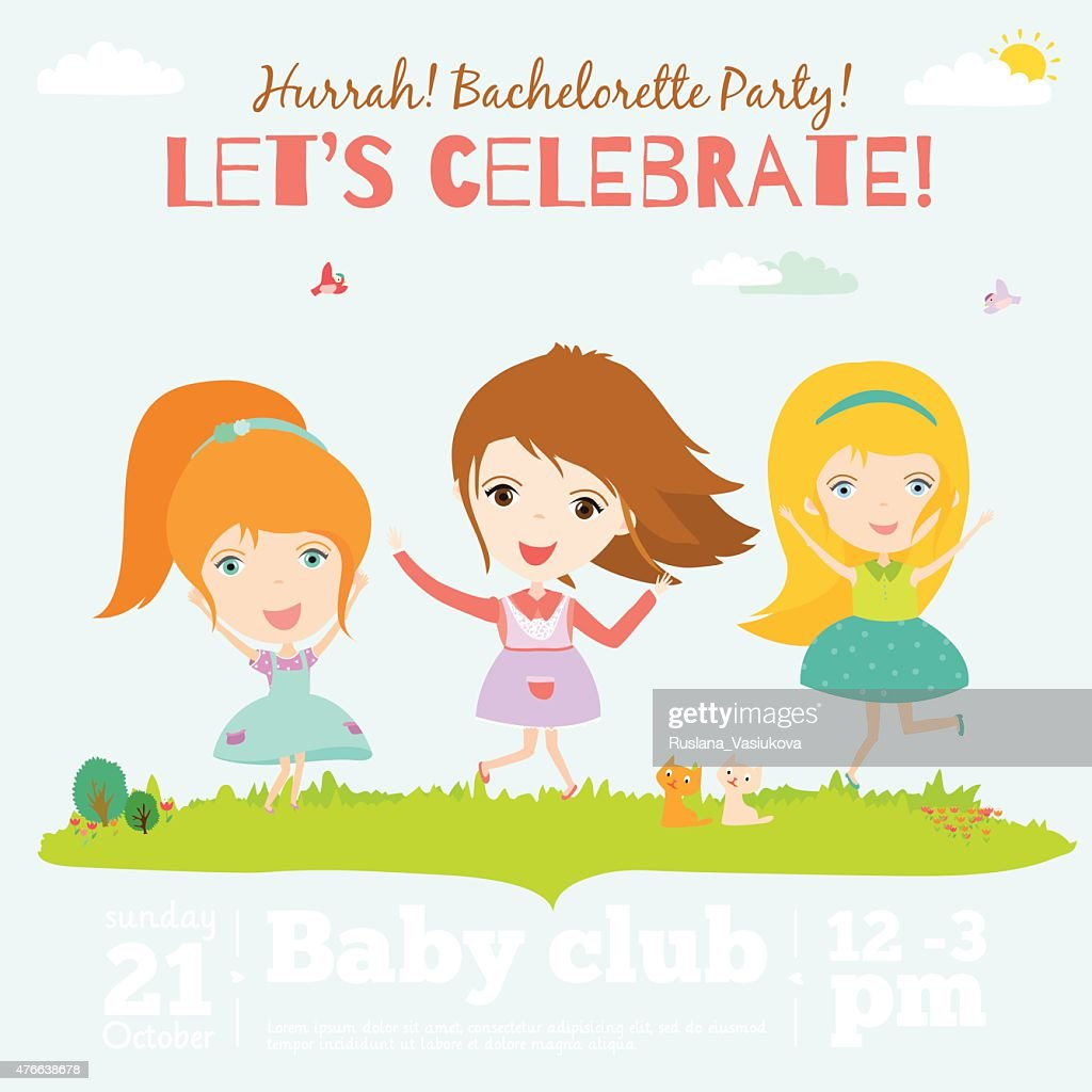 Vector Birthday Invitation Card On Baby Party With Smiling