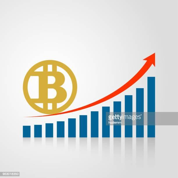 Vektor bitcoin symbol och stapeldiagram