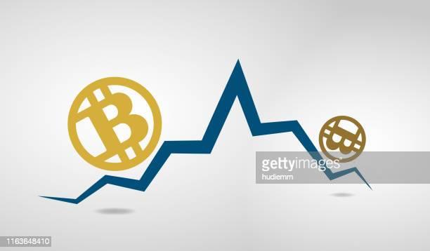 ベクトルビットコイン記号と下向きバーグラフ - ビットコイン点のイラスト素材/クリップアート素材/マンガ素材/アイコン素材