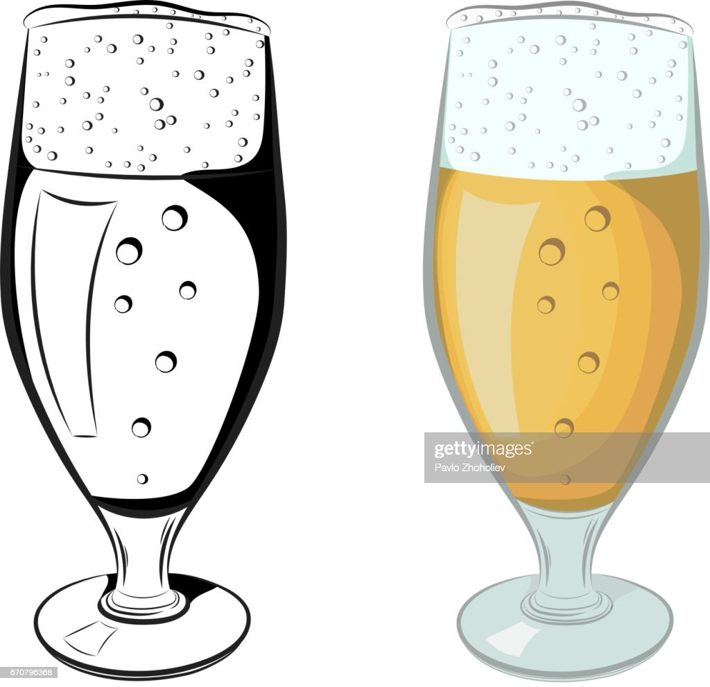 Vector black and white and color illustration of a full glass of beer on a white background