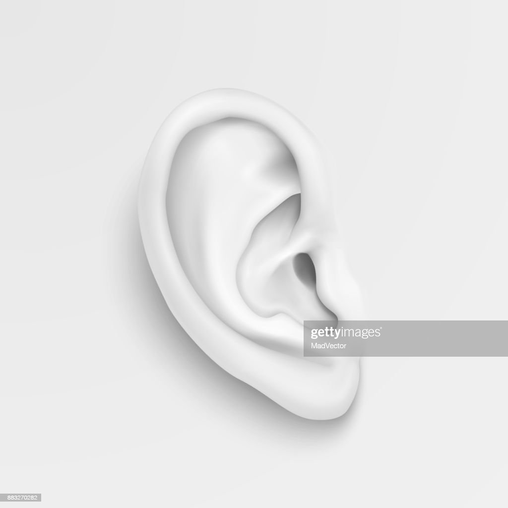 Vector black and white background with realistic human ear closeup. Design template of body part, human organ for web, app, posters, infographics etc