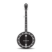 Vector black and white banjo, musical instrument