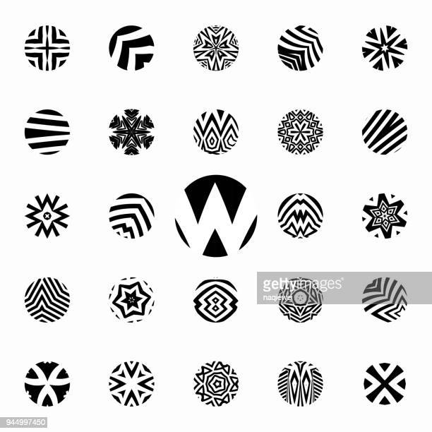 Vector black and white circle pattern icon collection