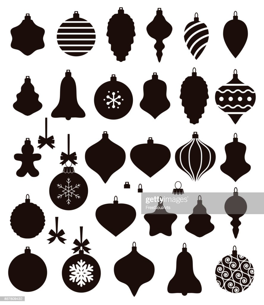 vector black and white collection of christmas ball shapes