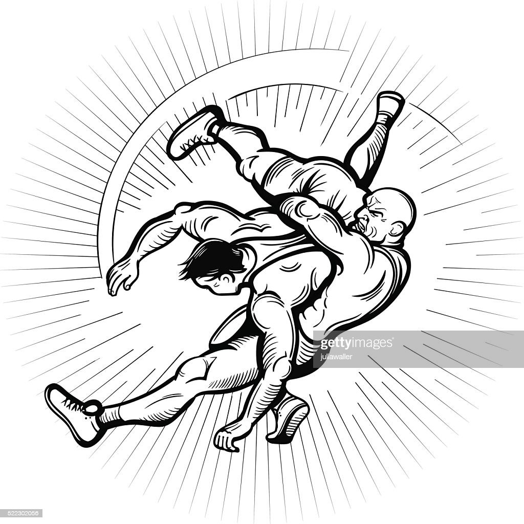 Vector Black and White Comics Freestyle Wrestling Illustration