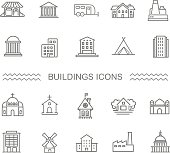 Vector - Black and white government buildings icons set