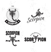 Vector black and white logo set with scorpion
