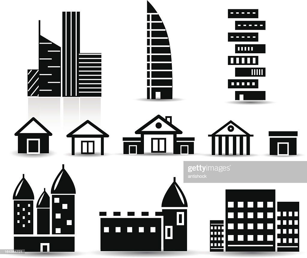 Vector black and white real estate icons
