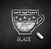 Vector black and white sketch of Glace coffee