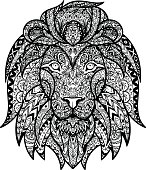 Vector Black and White Tattoo Lion Head Illustration
