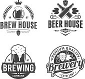 Vector black and white vintage beer labels, icons and design elements