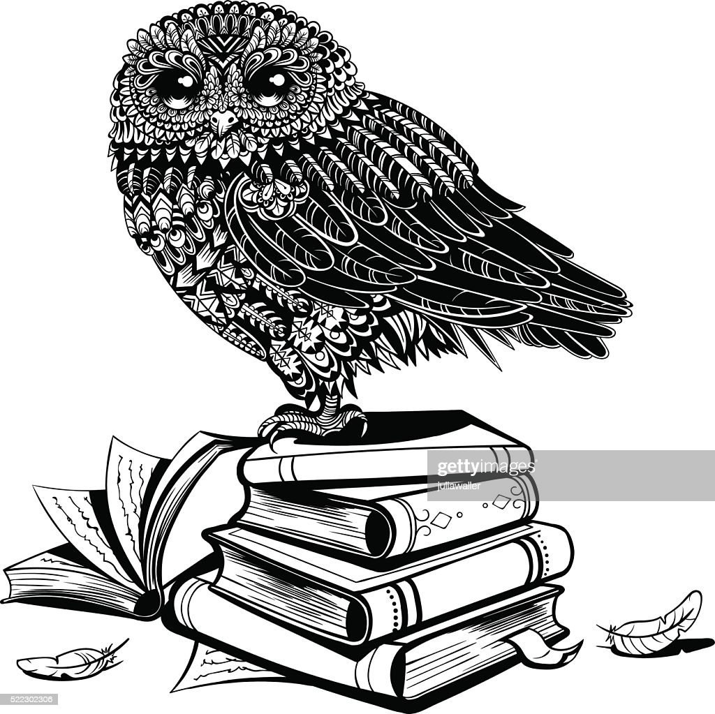 Vector Black and White Vintage Owl on the Books Illustration