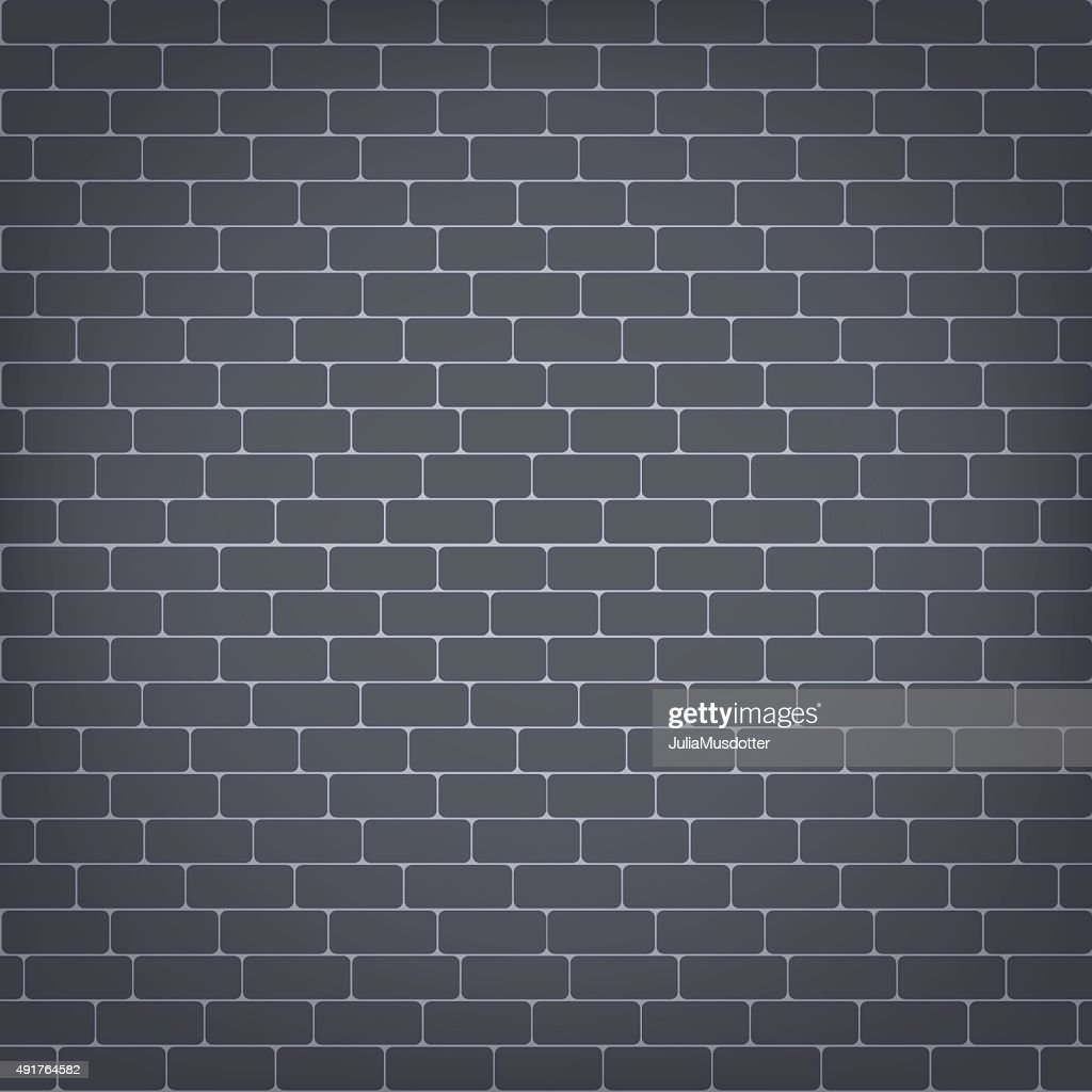Vector black brick wall seamless background.