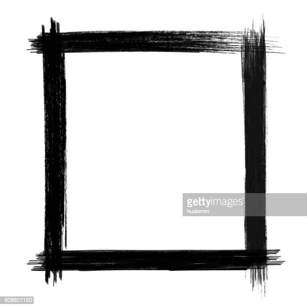 vector black brush stroke frame isolated - picture frame stock illustrations